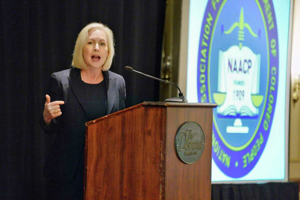 U.S. Senator Kirsten Gillibrand speaks at the 82nd Annual NAACP New York State Convention Friday Oct. 5, 2018 in Colonie, NY. (John Carl D'Annibale/Times Union)
