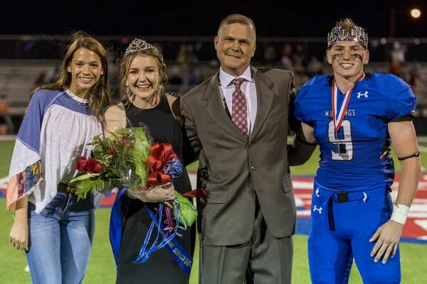 Abby Claire Brown, 2017 homecoming queen, Kaitlyn Grigsby, Brent Grigsby and Micah Strahan on Friday night.