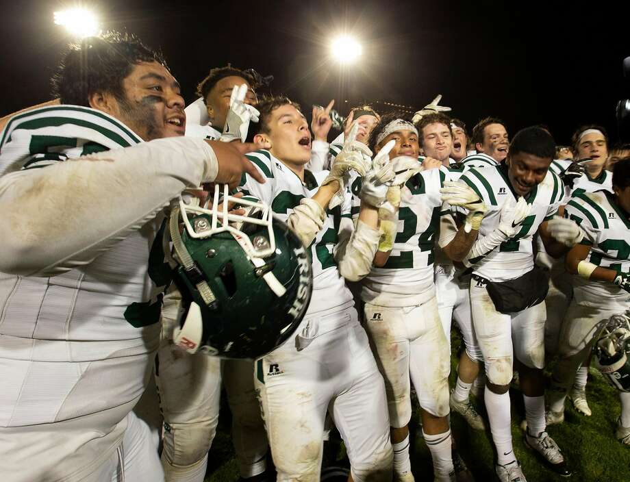 Sacred Heart Cathedral celebrate their victory over St. Ignatius in a high school football game on Friday, Oct. 5, 2018 in San Francisco, Calif. Sacred Heart won the Brian Mahoney game, 26-21. Photo: D. Ross Cameron / Special To The Chronicle