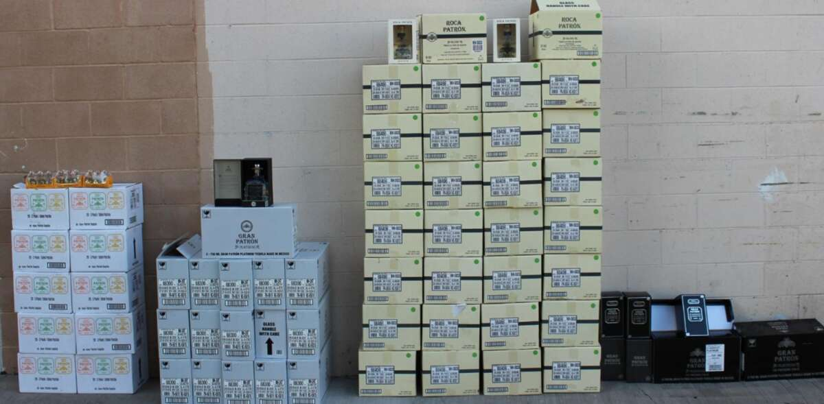 Laredo police recovered 29 cases of Roca Silver, 17 cases of Gran Patrón, and nine cases of mini Patrón tequila bottles.