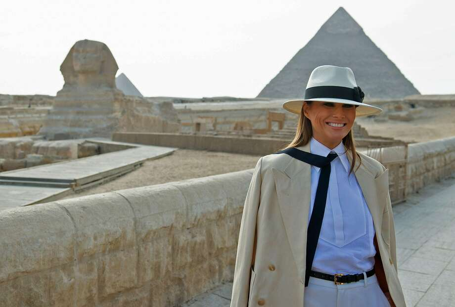 Melania Trump visits the the pyramids and the Great Sphinx in Giza during the final stop of her Africa tour in Egypt. She also visited Ghana, Malawi and Kenya on her weeklong trip. Photo: Saul Loeb / AFP / Getty Images