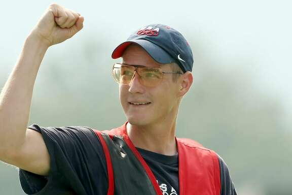 BEIJING - AUGUST 12:  Glenn Eller of the United States celebrates winning the gold medal in the men's double trap held at the Beijing Shooting Range Hall during Day 4 of the Beijing 2008 Olympic Games on August 12, 2008 in Beijing, China.  (Photo by Nick Laham/Getty Images)