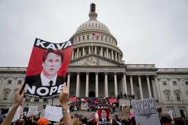Demonstrators outside the U.S. Capitol in Washington, Oct. 6, 2018. The full Senate was set for a final vote on Judge Brett Kavanaugh's nomination later Saturday, possibly concluding the most tumultuous Supreme Court confirmation process in decades. (Erin Schaff/The New York Times)