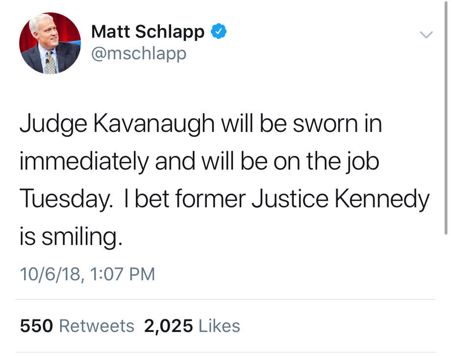 People took to Twitter to share their feelings on the confirmation of Brett Kavanaugh. Photo: Screenshot Via Twitter