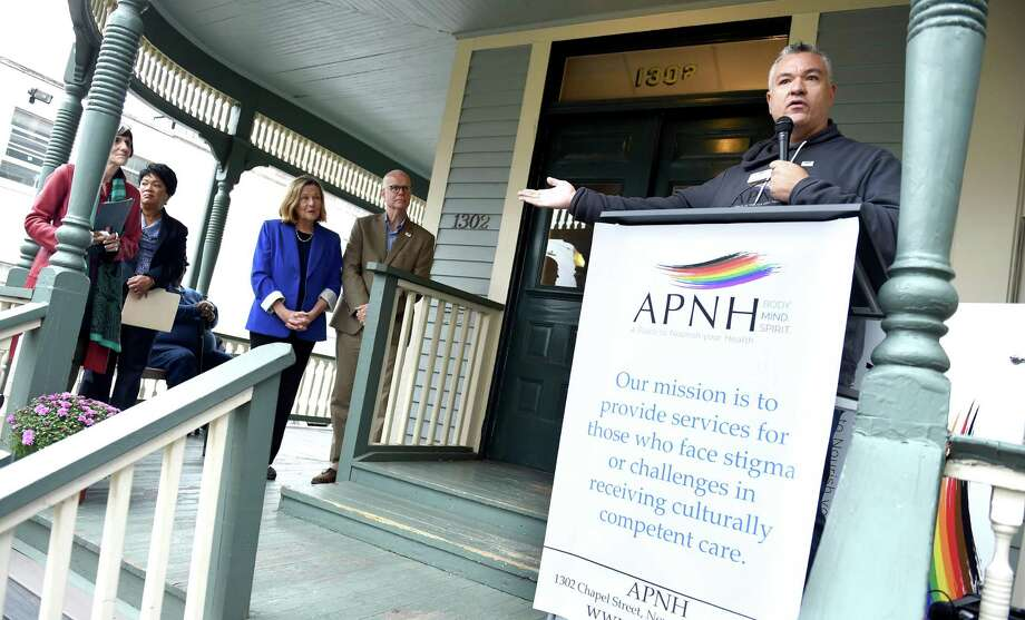 Christopher Cole, executive director of APNH, speaks during a name change ceremony on the 35th anniversary of AIDS Project New Haven on October 6, 2018. APNH stands for A Place to Nourish your Health. Photo: Arnold Gold / Hearst Connecticut Media / New Haven Register