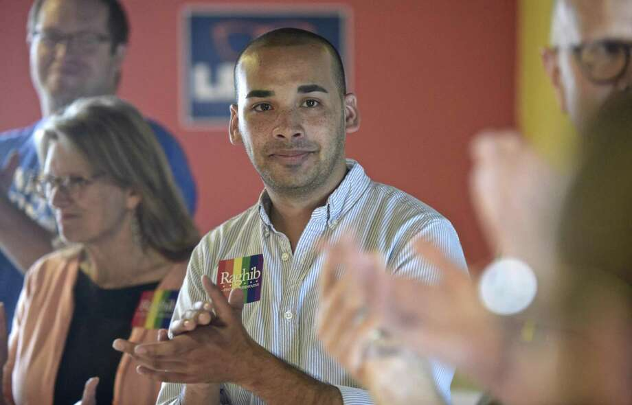 Raghib Allie-Brennan, a Democrat running for the state House in the 2nd District, held a LGBTQ day of action with State Comptroller Kevin Lembo. Saturday, October 6, 2018, Bethel, Conn. Photo: H John Voorhees III / Hearst Connecticut Media / The News-Times