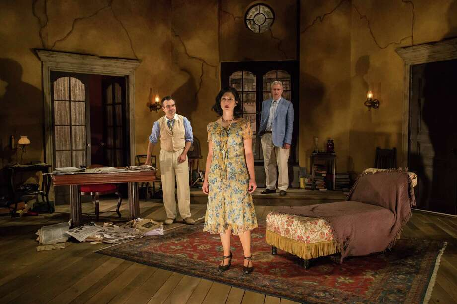 "From left, James Barry, Tara Franklin and Rocco Sisto in ""Naked"" at Berkshire Theatre Group. Photo: Emma Rothenberg-Ware, Berkshire Theatre Group / Emma K. Rothenberg-Ware"