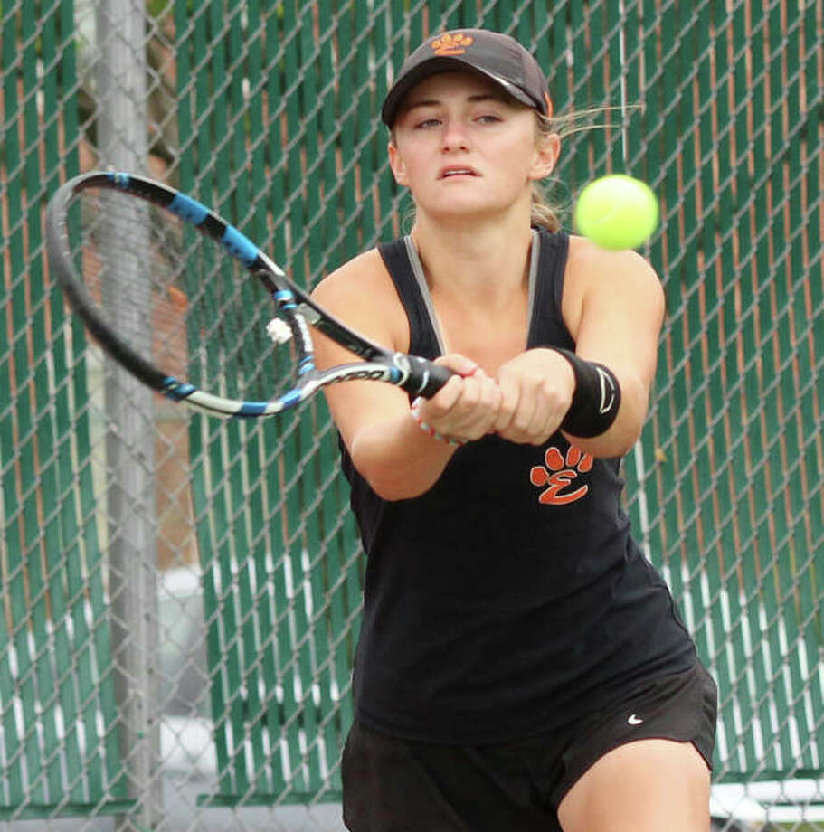 Edwardsville's Abby Cimarolli, shown in a match earlier this season, finished first in No. 3 in singles Saturday at the Southwestern Conference Tournament at Belleville East. The Tigers tied the host Lancers for the tourney title, with East securing the conference title. Photo: Greg Shashack / The Telegraph