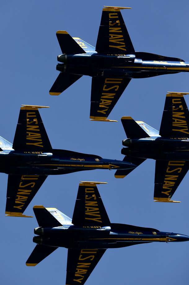 The U.S. Navy Blue Angels perform during the San Francisco Fleet Week Air Show: Marina Green on Saturday, October 6, 2018, in San Francisco, Calif. The event is produced by The Air Show Network and presented by United Airlines. The air show event is taking place over three consecutive days in the skies above San Francisco's waterfront and attracts over a million people around the Bay. Photo: Yalonda M James / The Chronicle