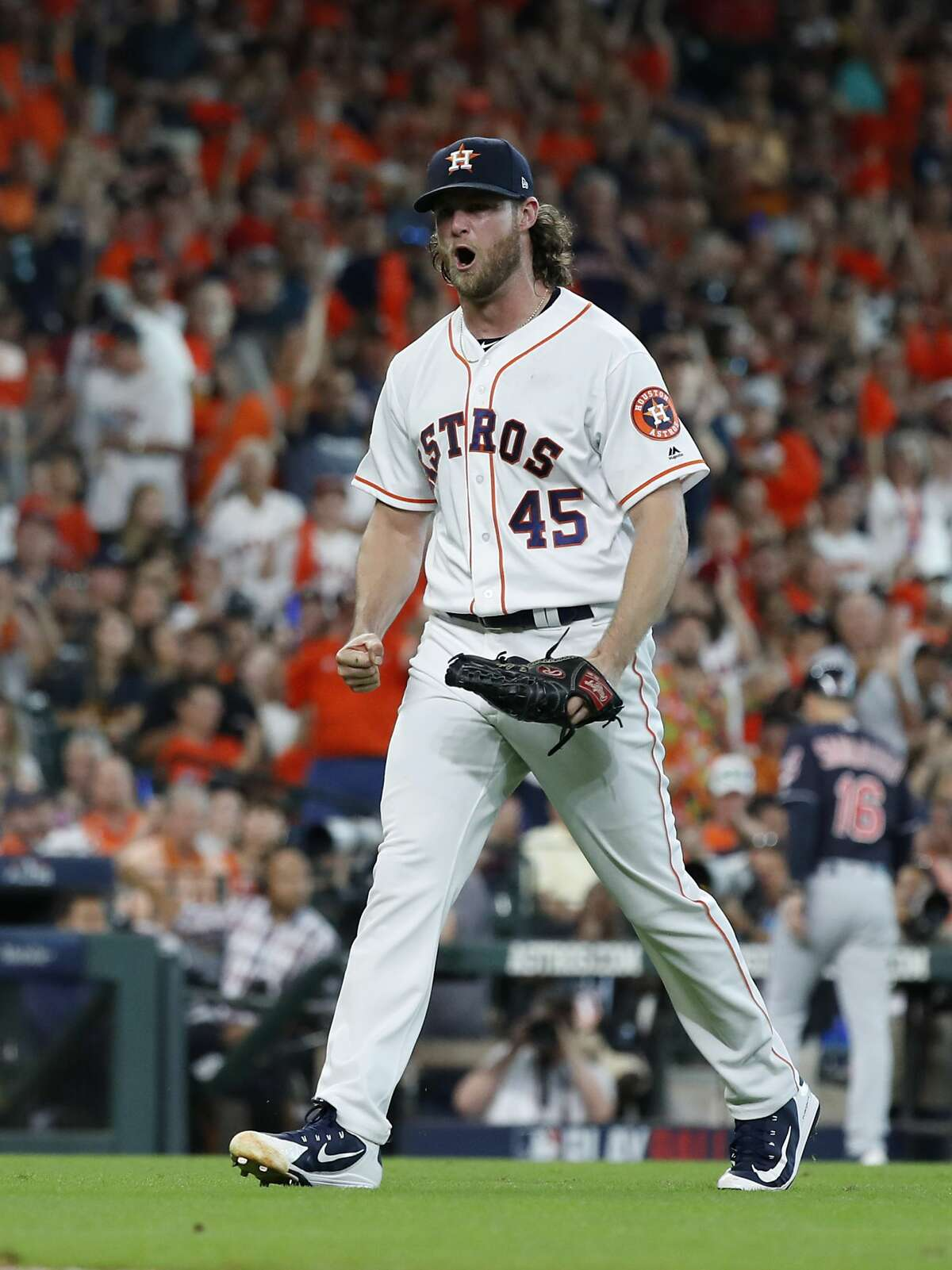 Houston Astros pitcher Gerrit Cole (45) reacts after striking out the final batter in the sixth inning of Game 2 of the American League Division Series at Minute Maid Park on Saturday, Oct. 6, 2018, in Houston.