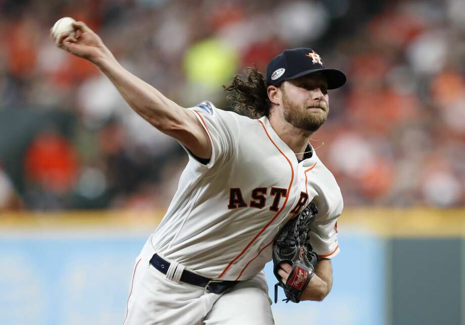 Houston Astros pitcher Gerrit Cole (45) throws a pitch in Game 2 of the American League Division Series at Minute Maid Park on Saturday, Oct. 6, 2018, in Houston. Photo: Brett Coomer/Staff Photographer