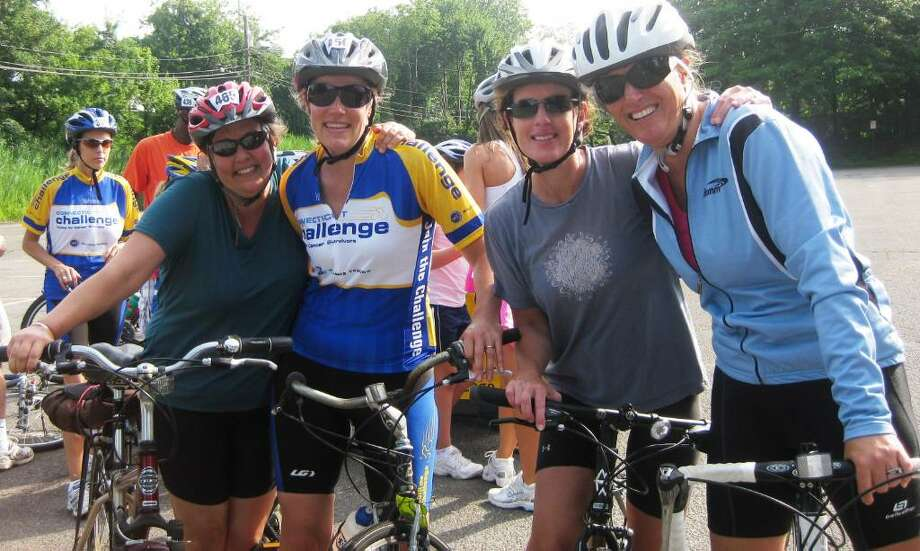 Fairfield residents, from left, Meg Staunton, the late Sally Richards, Carolyn McKenna and Kitty Fiol, participate in a previous year's Connecticut Challenge Charity Bike Ride. Richards' connection to all she touched has now evolved into a spirited effort from her husband, George, and a small army of family and friends to keep her spirit alive through Ride Sally Ride (RSR), a team of bike riders that will pay tribute to her at the 6th Annual Connecticut Challenge Charity Bike Ride in Fairfield on July 24. Photo: Contributed Photo / Fairfield Citizen