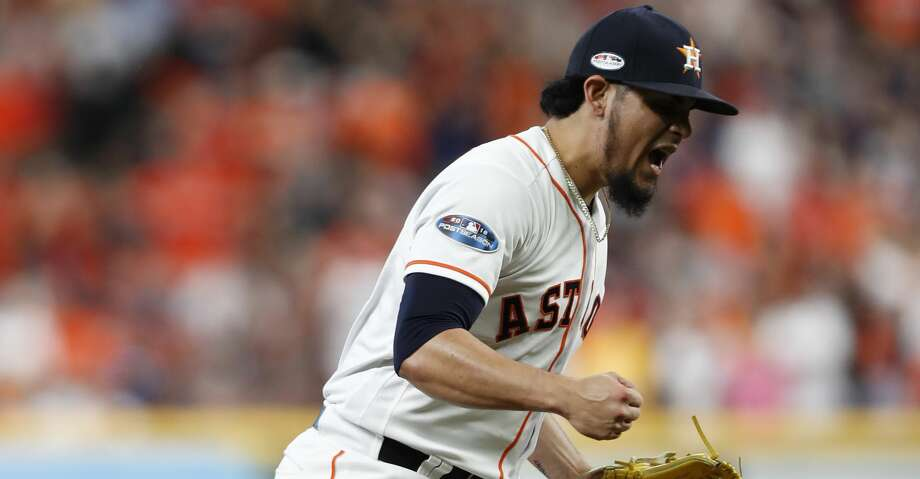 Houston Astros pitcher Roberto Osuna (54) reacts after striking out Cleveland Indians shortstop Francisco Lindor (12) in the eighth inning of Game 2 of the American League Division Series at Minute Maid Park on Saturday, Oct. 6, 2018, in Houston. Photo: Brett Coomer/Staff Photographer