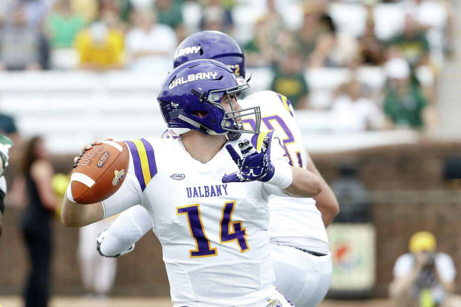 Albany quarterback Vincent Testaverde throws a pass against William & Mary during the Danes' 25-22 loss at Zable Stadium on Saturday, Oct. 6, 2018, in Williamsburg, Va. Testaverde was 9-for-24 with two interceptions. (Jim Agnew / Special to the Times Union) Photo: College Of William & Mary