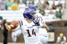 Albany quarterback Vincent Testaverde throws a pass against William & Mary during the Danes' 25-22 loss at Zable Stadium on Saturday, Oct. 6, 2018, in Williamsburg, Va. Testaverde was 9-for-24 with two interceptions. (Jim Agnew / Special to the Times Union)