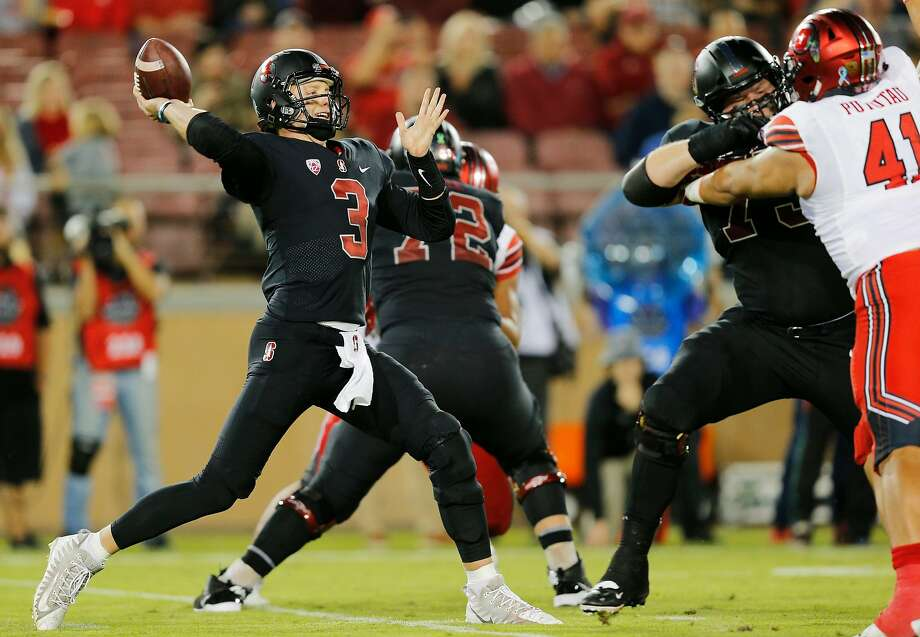 Stanford Cardinal quarterback K.J. Costello (3) throws deep for an incomplete pass in the second quarter of an NCAA football game between the Stanford Cardinal and the Utah Utes at Stanford Stadium on Saturday, Oct. 6, 2018, in Stanford, Calif. Photo: Santiago Mejia / The Chronicle
