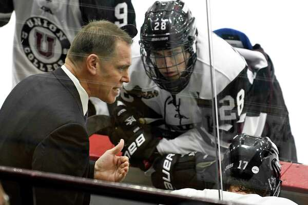 Union head coach Rick Bennett instructs his players against Army in the first period of an NCAA college hockey game Saturday, Oct. 6, 2018, in Schenectady, N.Y., (Hans Pennink / Special to the Times Union)