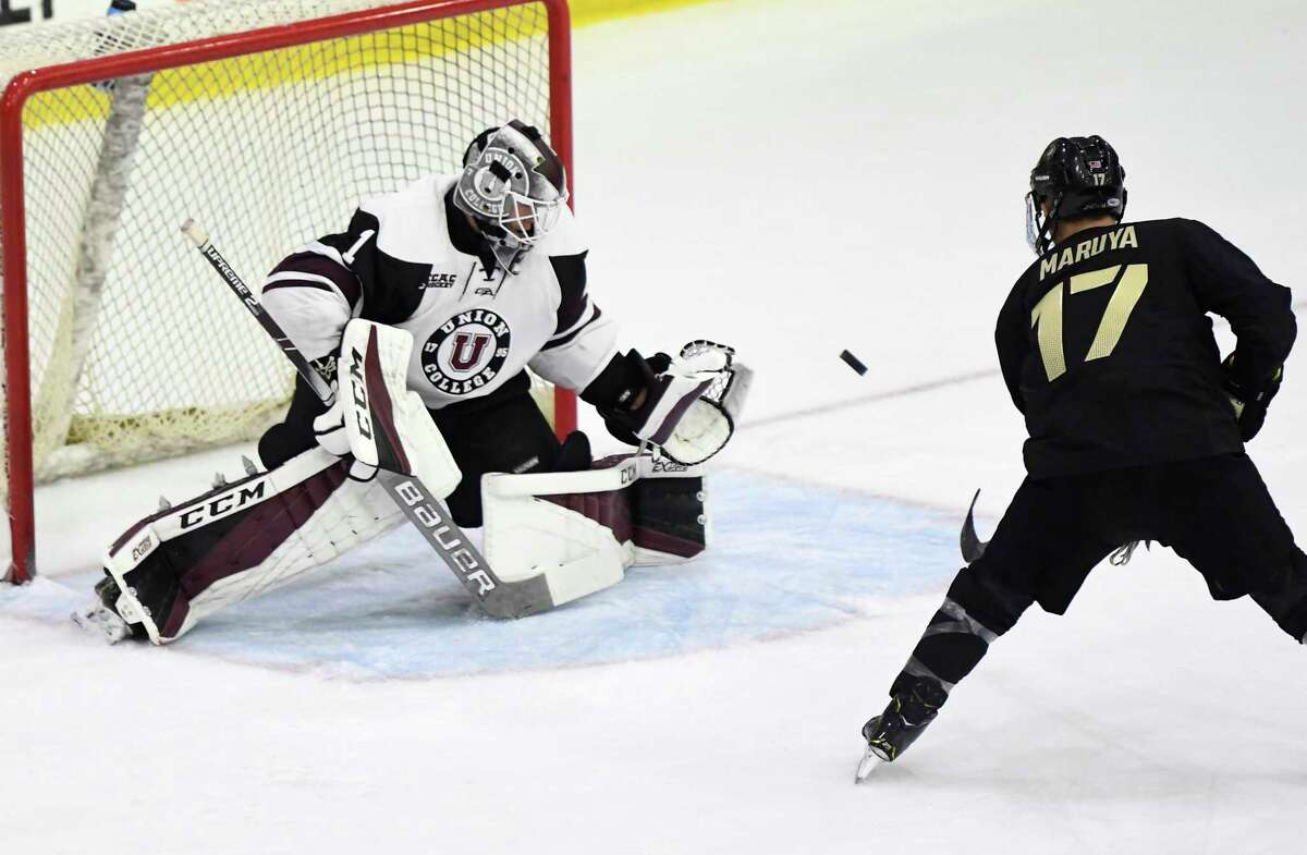 Union goaltender Jake Kupsky (1) gloves a shot by Army forward Taylor Maruya (17) in the first period of an NCAA college hockey game Saturday, Oct. 6, 2018, in Schenectady, N.Y., (Hans Pennink / Special to the Times Union)