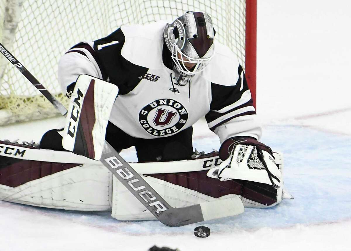Union goaltender Jake Kupsky (1) makes a see against Army in the first period of an NCAA college hockey game Saturday, Oct. 6, 2018, in Schenectady, N.Y., (Hans Pennink / Special to the Times Union)