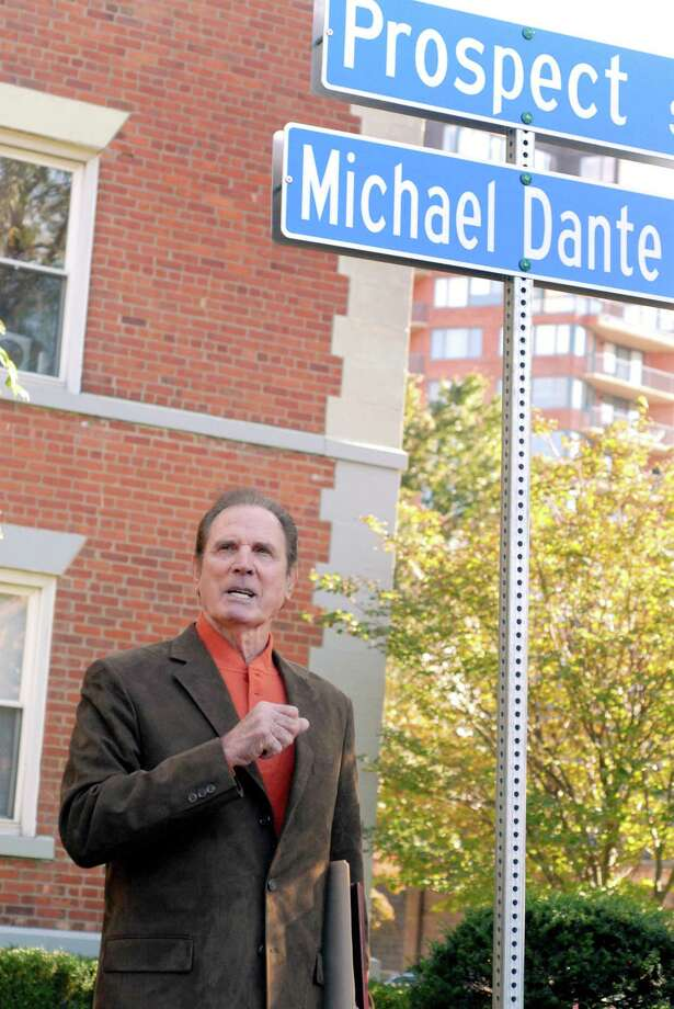 A portion of Prospect Street in Stamford is named after veteran Hollywood actor Michael Dante on Oct. 7, 2011. Dante was the parade marshal of the 2011 Columbus Day Parade. Photo: Dru Nadler / File Photo / Stamford Advocate Freelance