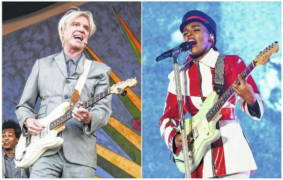 "This combination photo shows David Byrne performing at the New Orleans Jazz and Heritage Festival in New Orleans on April 29 and Janelle Monae performing June 28 in Los Angeles. Byrne ends his current show on a serious note calling attention to minority victims of violence by covering Janelle Monae's ""Hell You Talmbout."" Monae said she was touched by Byrne's gesture and believes the song's message needs to be heard by every audience. Photo: Associated Press"