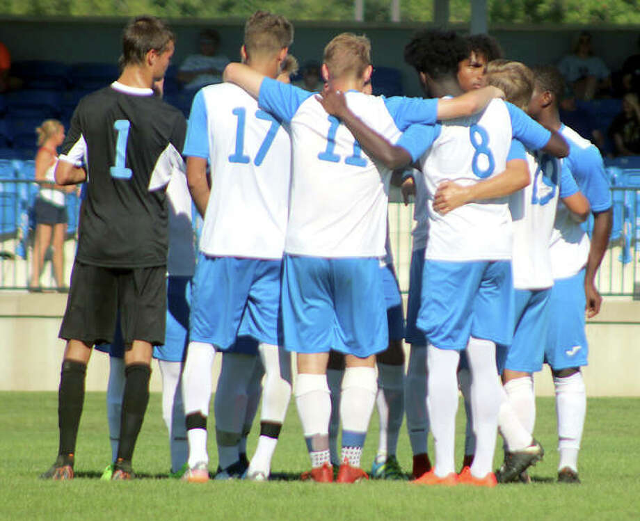 The Lewis and Clark Community College men's soccer team beat John Wood College Saturday night in Quincy 2-0 to clinch the Region 24 regular season title and home-field advantage through the playoffs. The LCCC women also beat John Wood, 12-0, later Saturday night. The LC women had already clinched their region title. Photo: Pete Hayes | The Telegraph