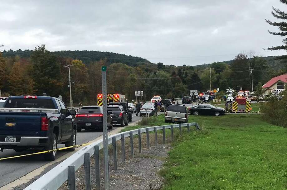 In this Saturday, Oct. 6, 2018 photo, emergency personnel respond to the scene of a deadly crash in Schoharie, N.Y. (WTEN via AP) Photo: Associated Press