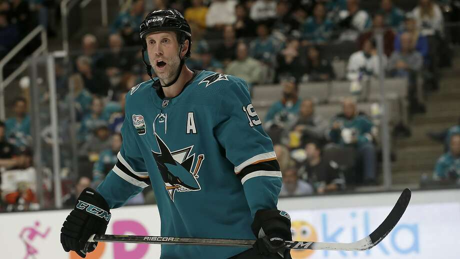 Sharks center Joe Thornton has experienced swelling in his surgically repaired knee and will be out at least a week. Photo: Jeff Chiu / Associated Press