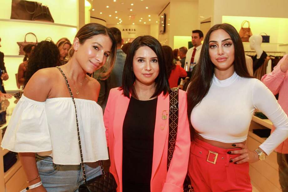 France Falcon, from left, Jennifer Rivera and Nazy Gavahi at the pre-party at Akris in River Oaks District for Fashion X. Photo: Gary Fountain, Contributor / © 2018 Gary Fountain
