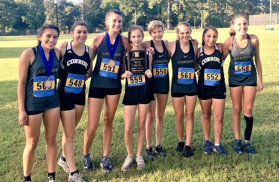 The Conroe girls cross country team won the Klein Bearkat Tune-Up meet on Saturday at Spring Creek Park in Tomball. Photo: Conroe XC Twitter