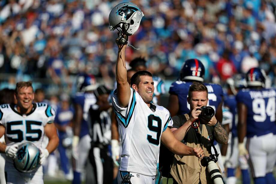 Graham Gano #9 of the Carolina Panthers reacts after making a 63 yard field goal to win the game against the New York Giants at Bank of America Stadium on October 7, 2018 in Charlotte, North Carolina. (Photo by Streeter Lecka/Getty Images) Photo: Streeter Lecka / Getty Images