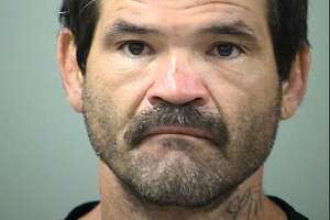 Randy Perez, 43, has been charged with intoxication manslaughter and three counts of intoxication assault in a car crash Saturday in San Antonio. Pictured, Perez in a July 4, 2018 booking photo.