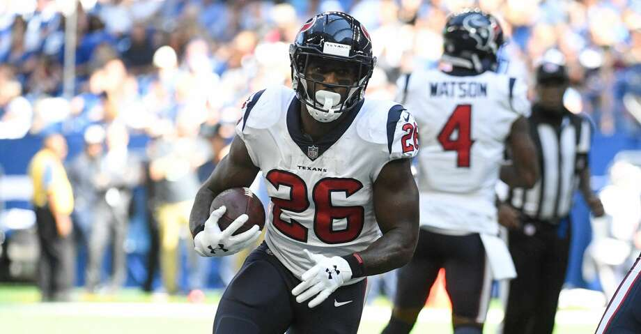 INDIANAPOLIS, IN - SEPTEMBER 30: Lamar Miller #26 of the Houston Texans runs the ball during the third quarter against the Indianapolis Colts at Lucas Oil Stadium on September 30, 2018 in Indianapolis, Indiana. (Photo by Bobby Ellis/Getty Images) Photo: Bobby Ellis/Getty Images