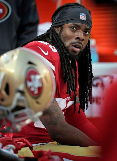 """49ers cornerback Richard Sherman said that new rules intended to protect player health were having unintended effects on defenses. """"It's making it really difficult on (defenses) to combat (offenses) because every rule in the book is designed to make sure you don't get them stopped,"""" Sherman said. """"They're just trying to make it impossible for guys to play defense."""" Photo: Carlos Avila Gonzalez / The Chronicle"""