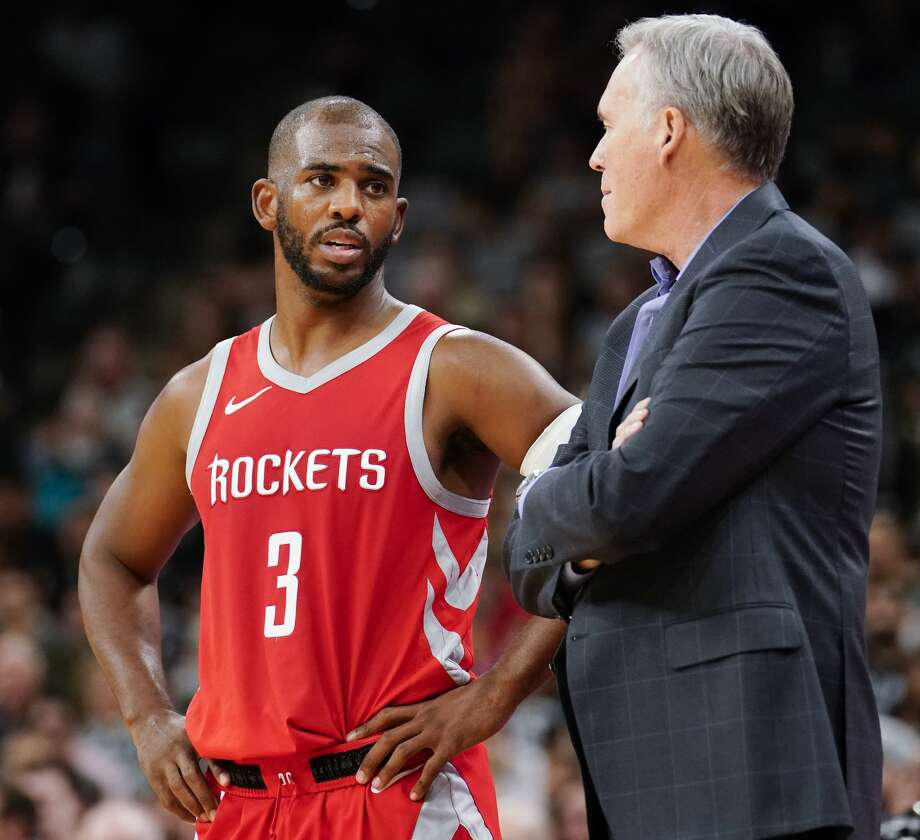 Houston Rockets' Chris Paul (3) talks to head coach Mike D'Antoni during the second half of an NBA preseason basketball game against the San Antonio Spurs, Sunday, Oct. 7, 2018, in San Antonio. >>NEWCOMERS TO THE ROCKETS: Fresh faces this season Photo: Darren Abate/Associated Press
