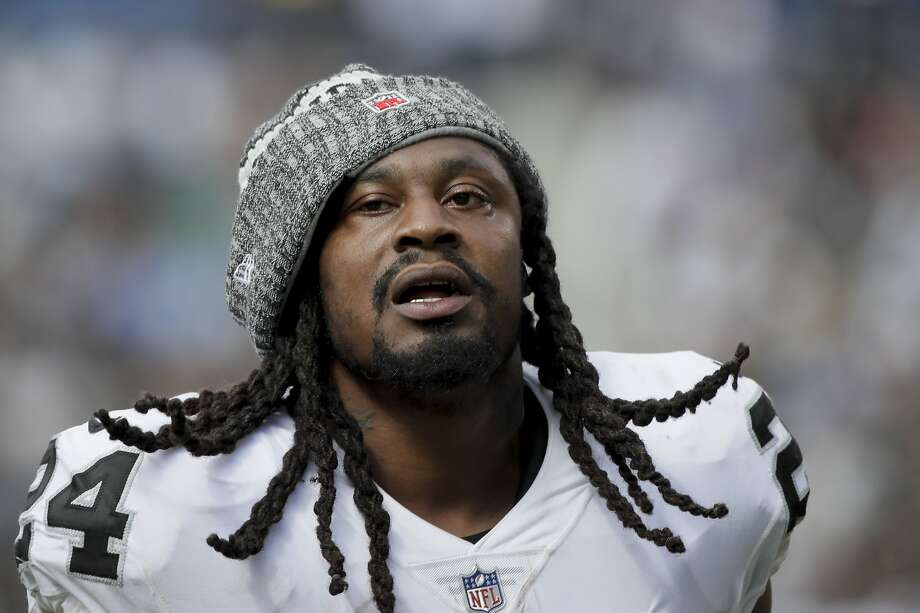 Oakland Raiders running back Marshawn Lynch looks on during the first half of an NFL football game against the Los Angeles Chargers Sunday, Oct. 7, 2018, in Carson, Calif. (AP Photo/Jae C. Hong) Photo: Jae C. Hong / Associated Press 2018