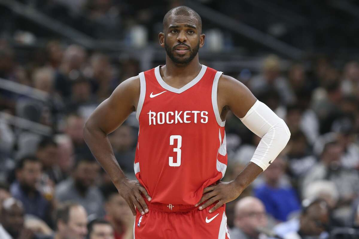 Houston Rockets player Chris Paul We get it. He whines to refs and he has a smirk that could start a wildfire of hate in your brain. But that's our guy now.