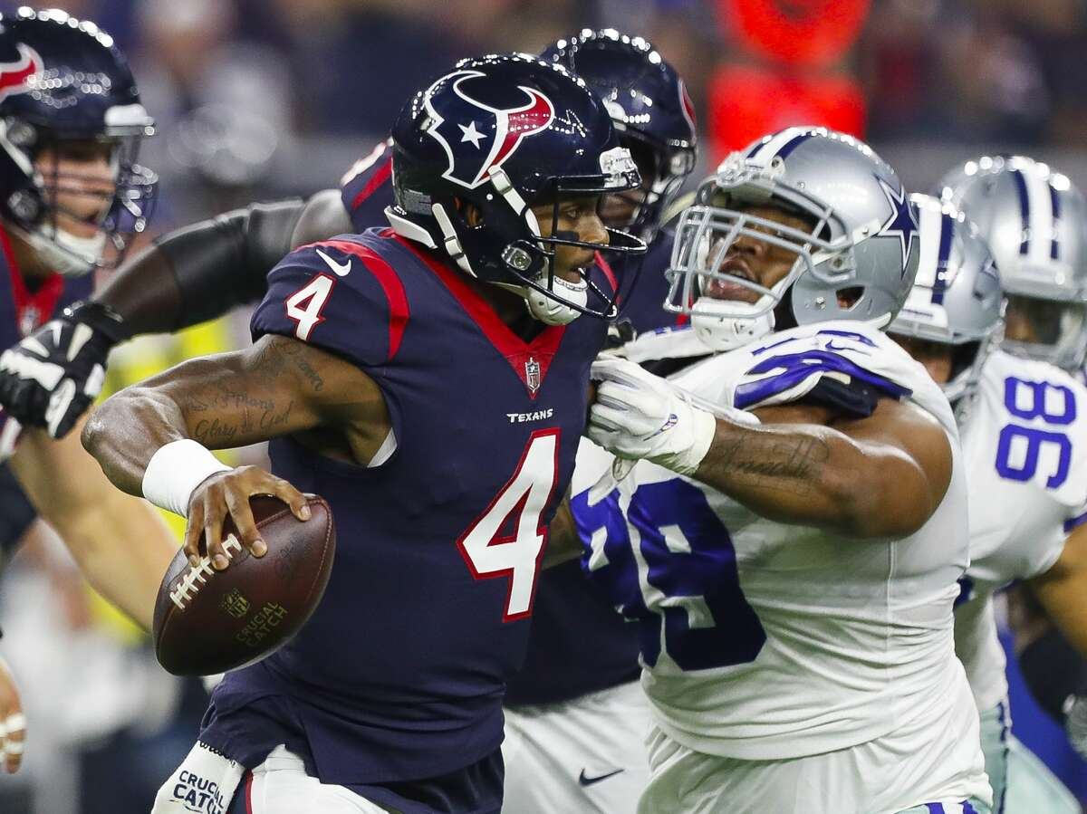 PHOTOS: A look at some of the big hits Deshaun Watson took against the Cowboys Houston Texans quarterback Deshaun Watson (4) shakes off a defender during the first quarter of an NFL football game at NRG Stadium on Sunday, Oct. 7, 2018, in Houston. Browse through the photos above for a look at some of the hits Deshaun Watson took on Sunday night ...