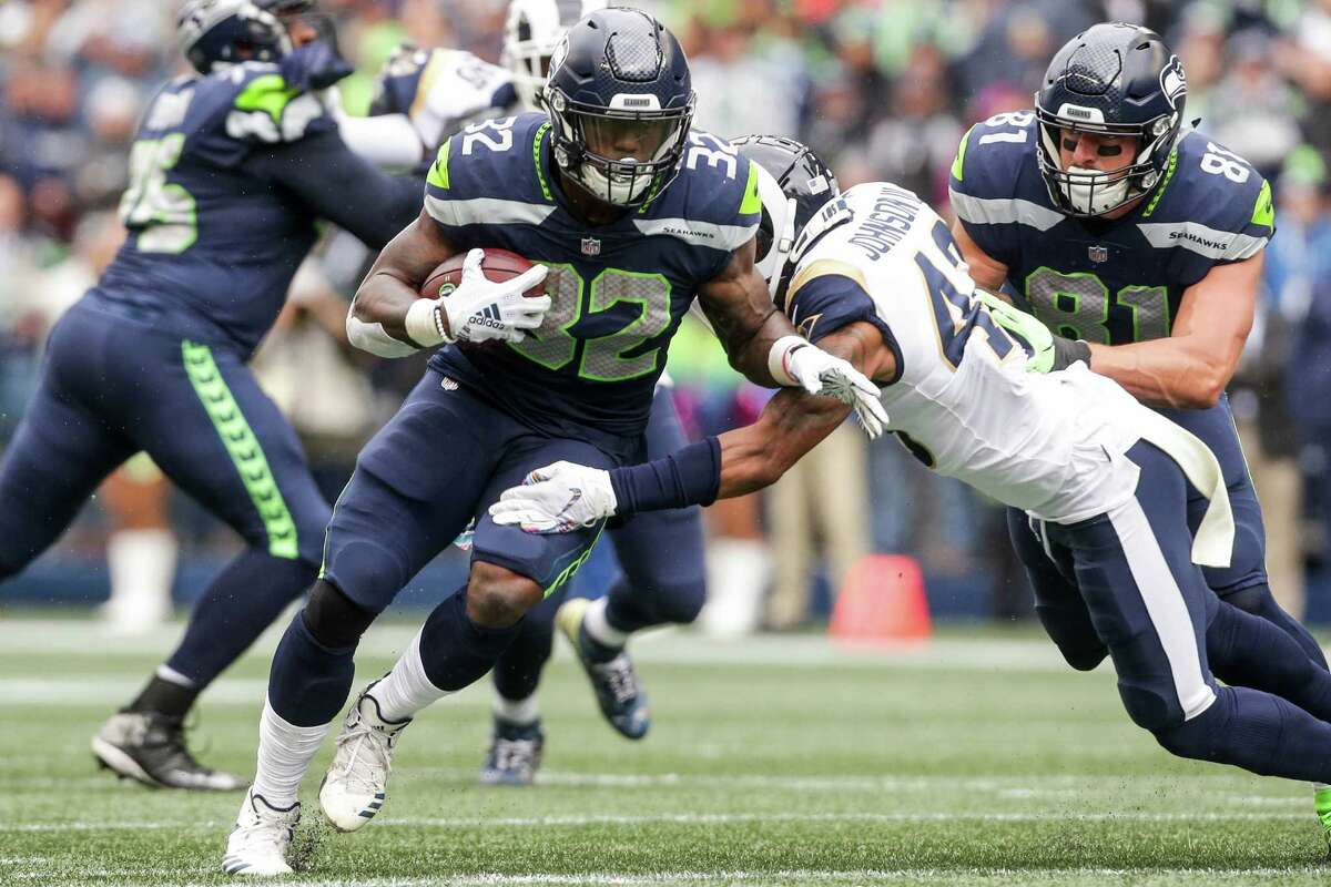 SEAHAWK TAILBACK WITH 100 YARDS RUSHING -- AGAIN  The Seahawks have had a 100-yard rushing performance by a tailback in three consecutive games.  It was Chris Carson in Week 3, Mike Davis in Week 4 and Carson again in Week 5.  After sitting out the Cardinals' game with a hip injury, Carson returned Sunday for 19 rushes and 116 yards against the Rams. It marked the first time the Seahawks have had a running back reach 100-plus yards in three straight contests since 2012 (Marshawn Lynch had four straight 100-yard games that season).