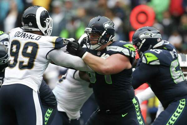Seahawks offensive lineman J.R. Sweezy blocks Rams defensive lineman Aaron Donald during the second half of the Seahawks game against the Los Angeles Rams, Sunday, Oct. 7, 2018 at CenturyLink Field. The Rams won 33-31.