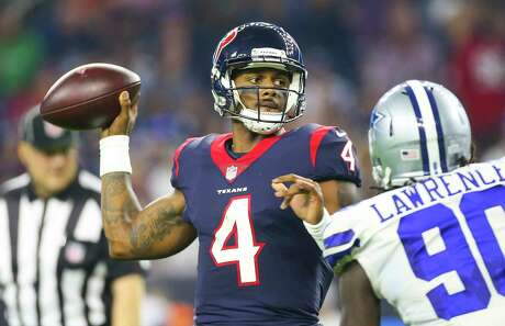 Houston Texans quarterback Deshaun Watson (4) looks to pass during the second quarter of an NFL football game at NRG Stadium on Sunday, Oct. 7, 2018, in Houston.