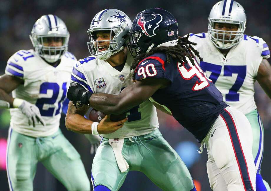 PHOTOS: John McClain's 2018 Week 6 predictions  Houston Texans linebacker Jadeveon Clowney (90) hits Dallas Cowboys quarterback Dak Prescott (4) during the third quarter of an NFL football game at NRG Stadium on Sunday, Oct. 7, 2018, in Houston.  >>>See the General's picks for the sixth week of NFL action ...  Photo: Elizabeth Conley, Staff Photographer / © 2018 Houston Chronicle