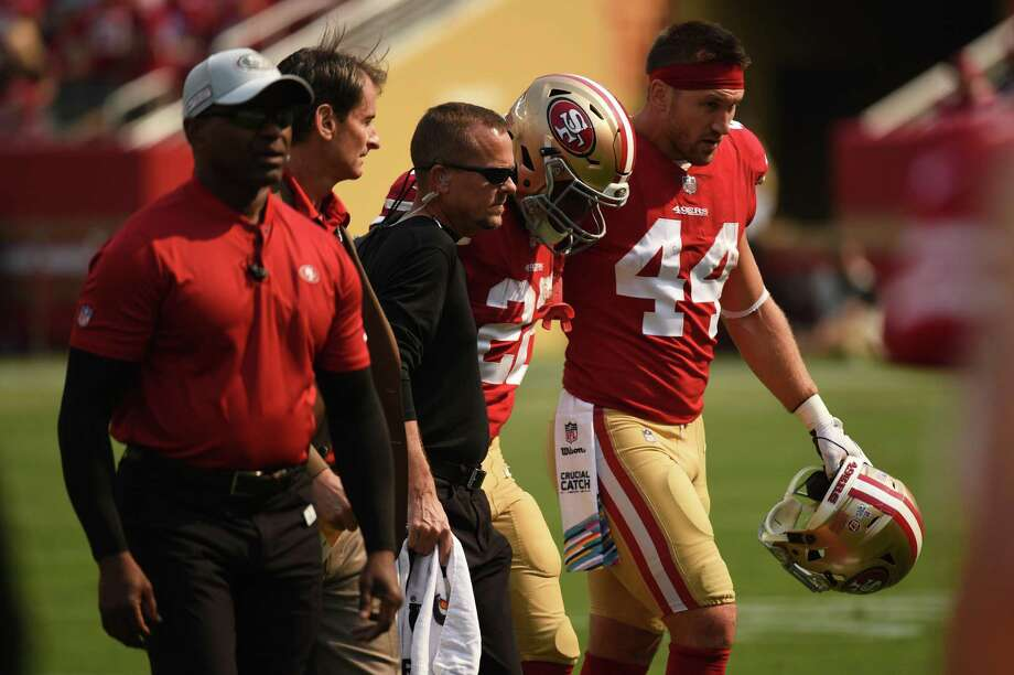 SAN FRANCISCO, CA - OCTOBER 07: San Francisco 49ers Running Back Matt Breida (22) is helped off the field after sustaining a first half injury with teammate San Francisco 49ers Fullback Kyle Juszczyk (44) during the NFL football game between the Arizona Cardinals and the San Francisco 49ers on October 7, 2018, at Levi Stadium in Santa Clara, CA. (Photo by Cody Glenn/Icon Sportswire via Getty Images) Photo: Icon Sportswire / Icon Sportswire Via Getty Images / ©Icon Sportswire (A Division of XML Team Solutions) All Rights Reserved
