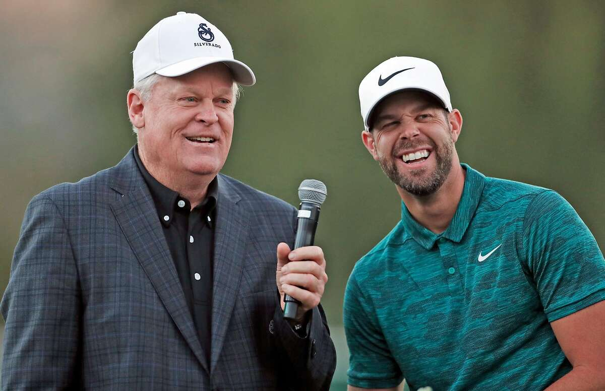 Tournament host Johnny Miller (left) chats with Kevin Tway after Tway won the Safeway Open at Silverado Resort in October 2018. The event is expected to return to Napa in September, after officials secured a new title sponsor.
