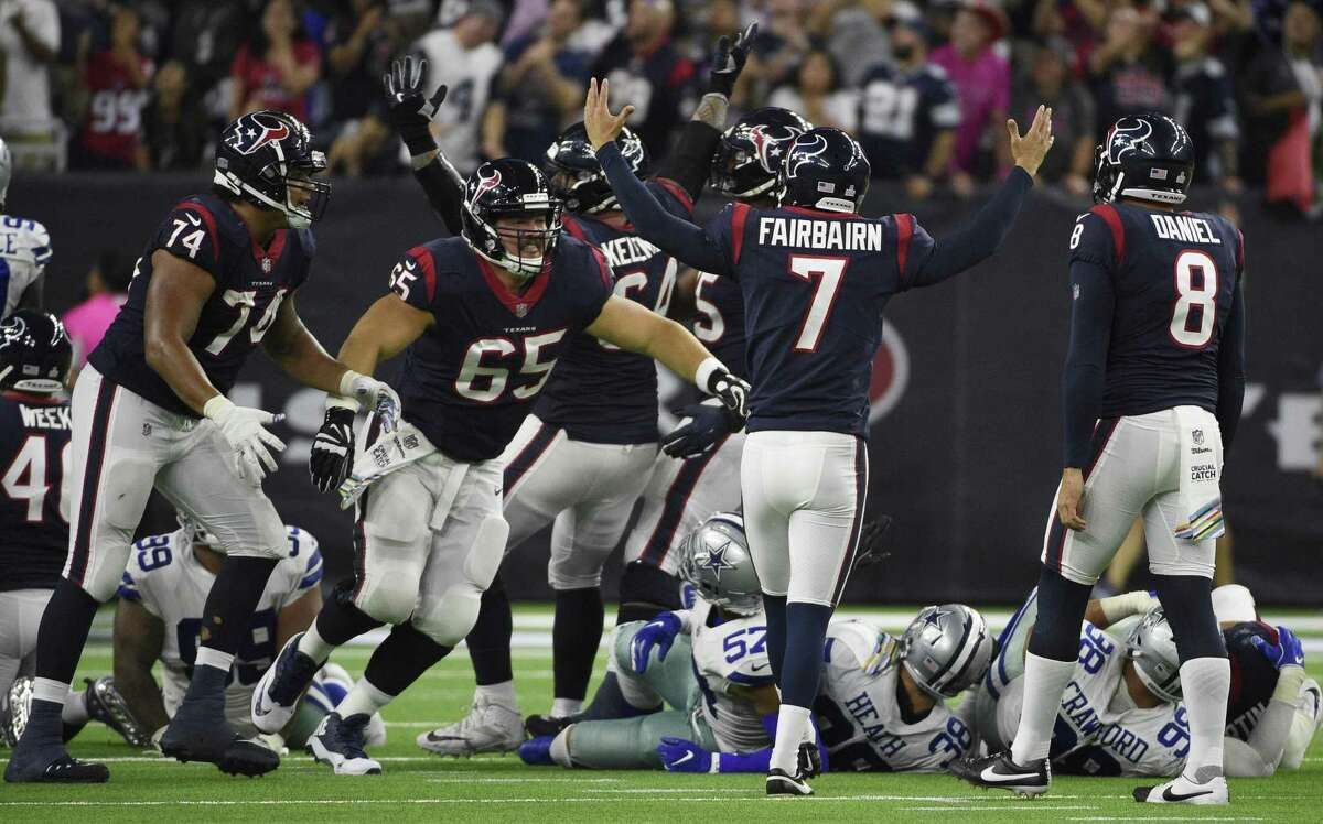 Houston Texans kicker Ka'imi Fairbairn (7) celebrates his winning field goal during overtime of an NFL football game against the Dallas Cowboys, Sunday in Houston.