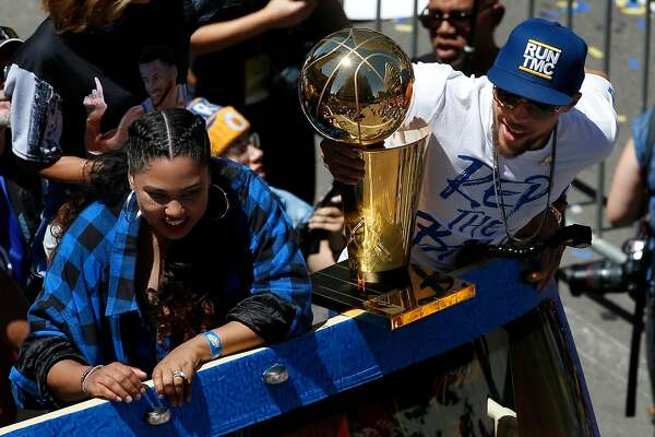 40886e4409c0 1of20From left  Ayesha Curry and her husband Golden State Warriors guard Stephen  Curry during the Warriors Championship Parade