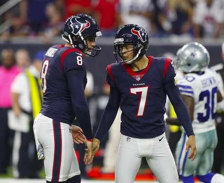 Houston Texans punter Trevor Daniel (8) and kicker Ka'imi Fairbairn (7) celebrate Fairbairn's field goal during the third quarter of an NFL football game at NRG Stadium on Sunday, Oct. 7, 2018, in Houston.