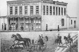 An artist drew this sketch of the Union Block on Main Street in Perry for the 1872 Pike County atlas.