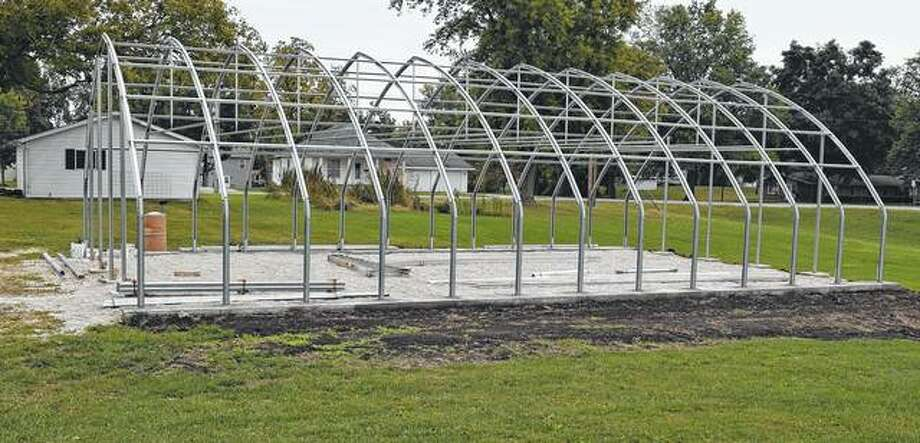 The framework for Winchester High School's greenhouse is nearing completion. Photo: Samantha McDaniel-Ogletree | Journal-Courier