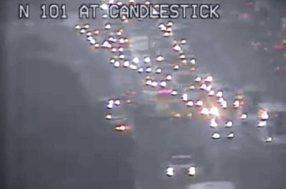 A severe traffic alert was issued early Monday morning for Highway 101  just north of Candlestick in San Francisco after a collision involving  two vehicles caused one of them to overturn and block the right lanes,  officials said. Photo: CalTrans